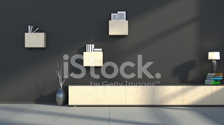 Wandplank Met Lamp.Zwart Interieur Met Lamp En Plank Stockfoto S Freeimages Com