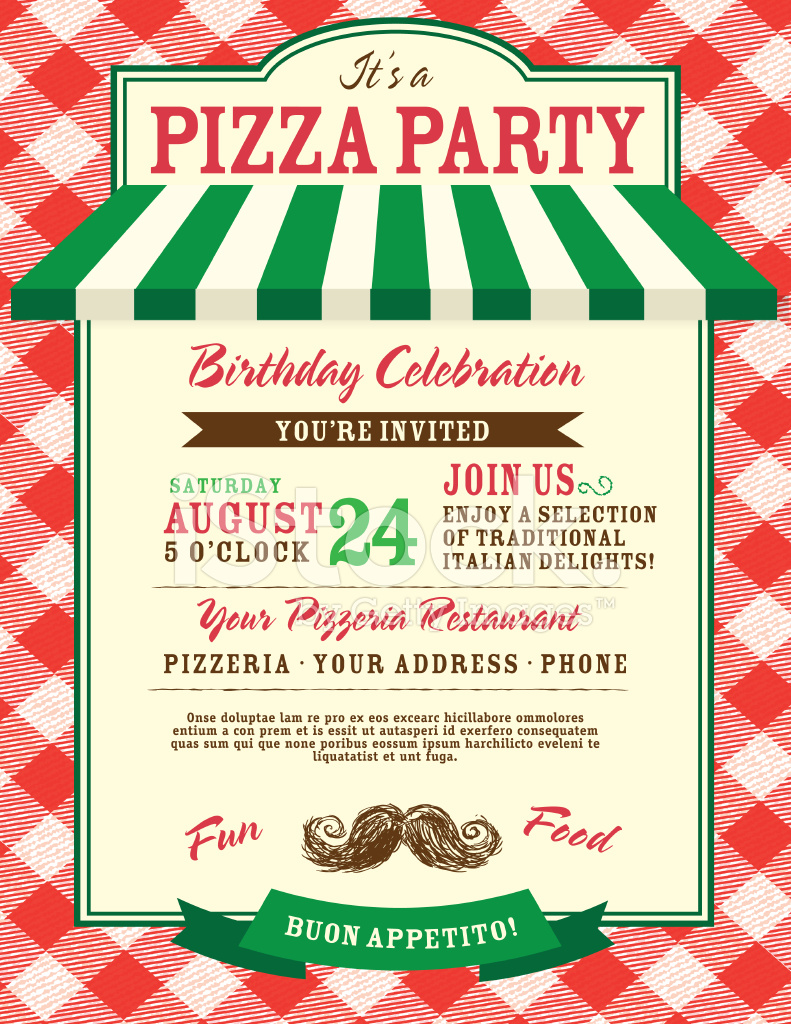 Pizza And Birthday Party Invitation Design Template Stock Vector - Pizza party invitation template