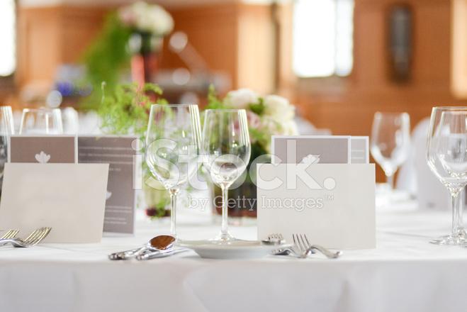 Dinner Table Decoration On Wedding Tischdeko Stock Photos