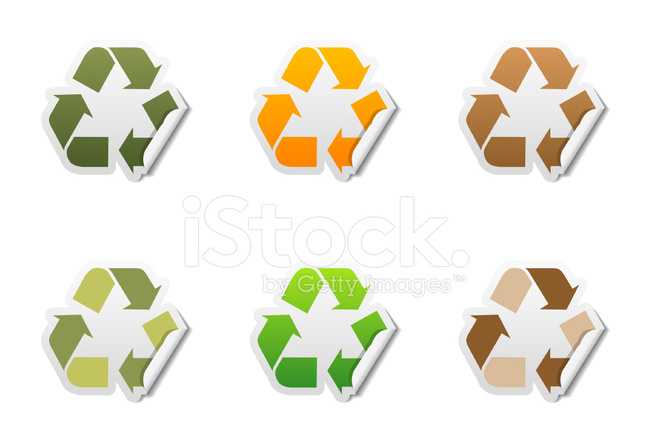 Recycle Symbol Sticker Icons Stock Vector Freeimages