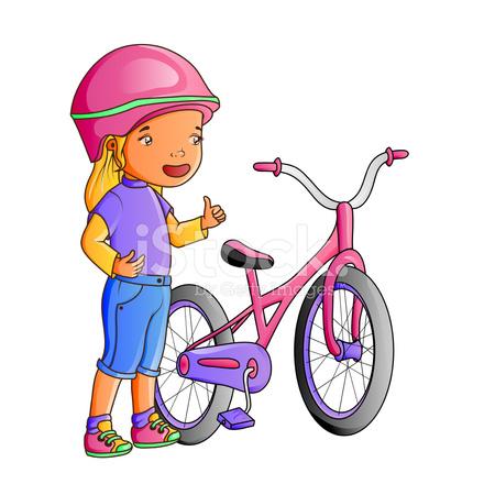 Nina Linda Con Bicicleta De Dibujos Animados Stock Vector