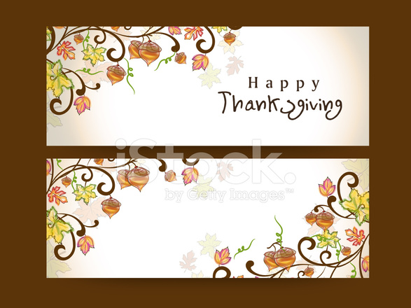 Happy Thanksgiving Day Website Header Or Banner Set