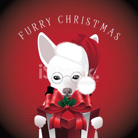 furry christmas dog with gift - Christmas Furry