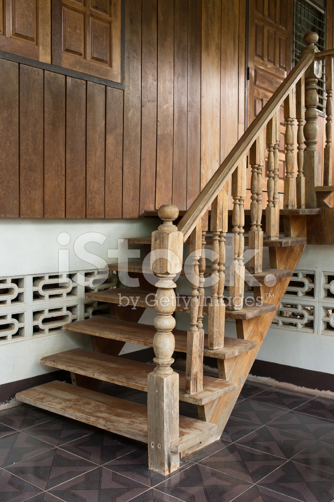 Escalera DE Madera Barandilla DE Talla DE Madera DE Estilo