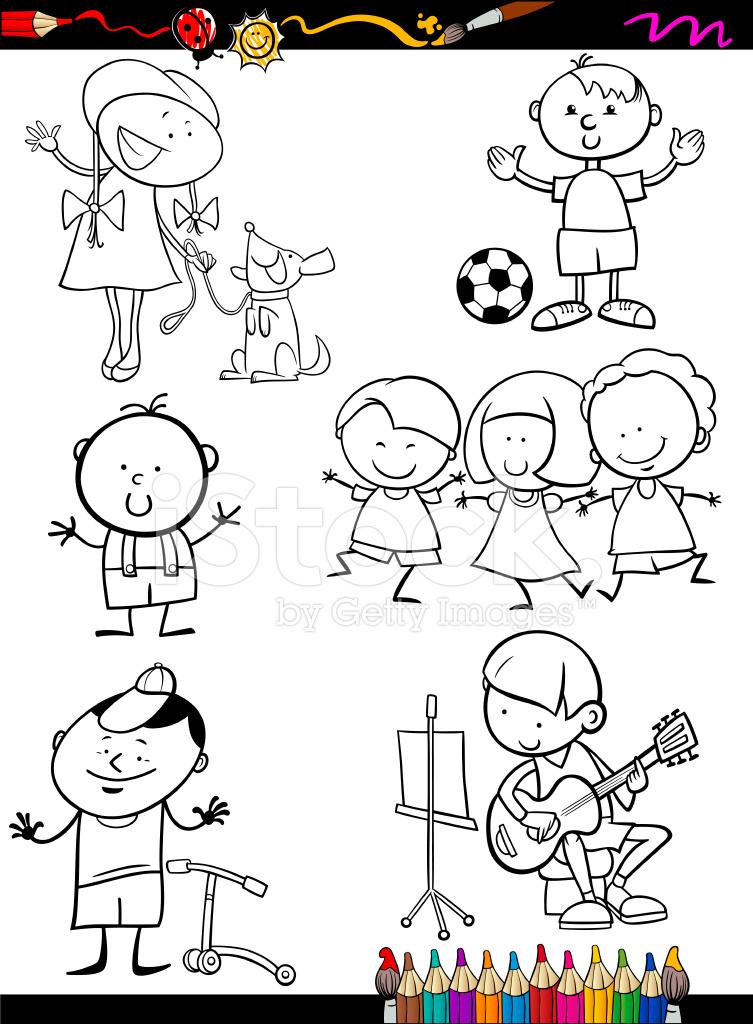 çocuk çizgi Film Boyama Sayfası Ayarla Stock Vector Freeimagescom