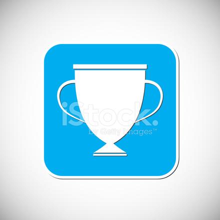 Trophy Icon Blue Square Frame Vector Illustration