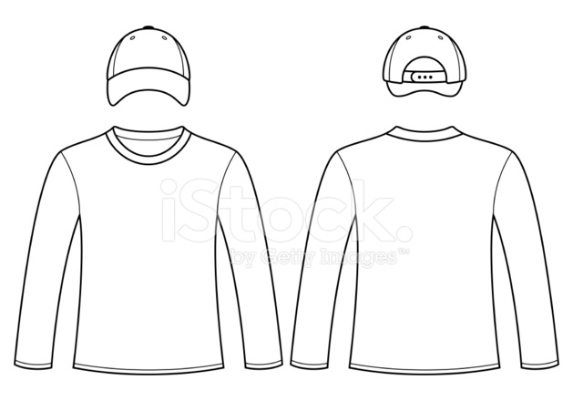 long sleeved t shirt and cap template stock vector. Black Bedroom Furniture Sets. Home Design Ideas