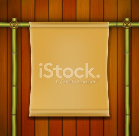 Telaio Di Bambù Con Banner Pergamena Sullo Sfondo In Legno Stock