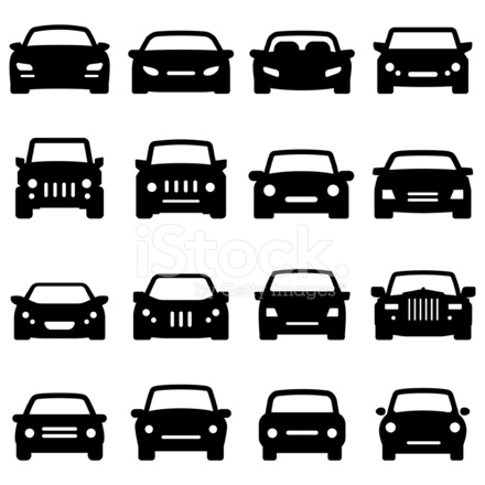 Car Icons Front Views Black Series Stock Vector ...