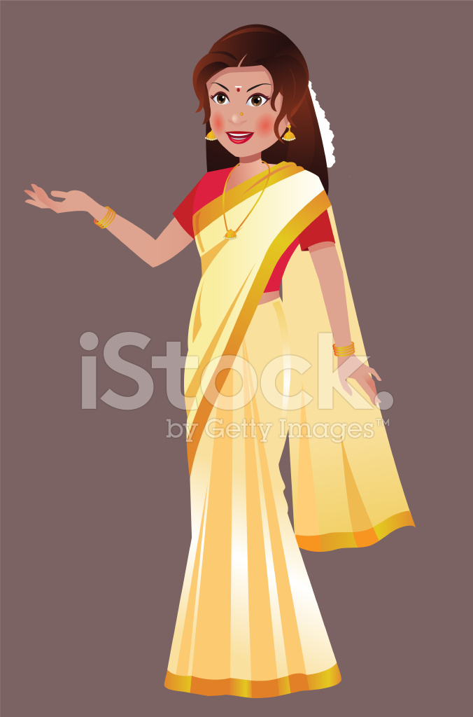South Asian Indian Woman Standing In Traditional White Saree Stock Vector Freeimages Com