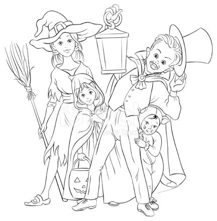 Oyun Ya Da şeker Içinde Halloween Kostümleri Oynayan Boyama Stock