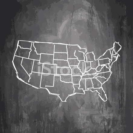 Usa Map Sketched On Dark Chalkboard Background Stock Vector