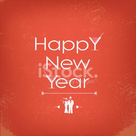 Vintage Feliz Año Nuevo Tarjeta O Partido Invitación Eps10