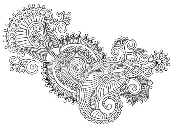 Line Art Ornate Flower Design : Black line art ornate flower design ukrainian ethnic