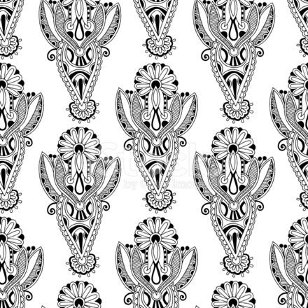Sfondo Di Disegno Paisley Bianco E Nero Ornato Di Fiori Senza