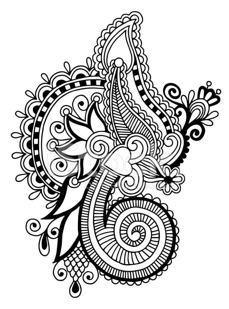 New Line Art Design : Black line art ornate flower design ukrainian ethnic