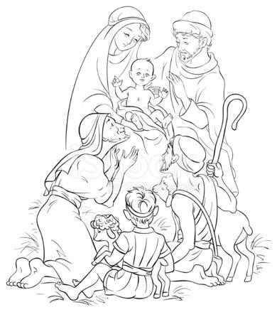 Escena DE LA Jesús, María, José Y Los Pastores, Contorneados Stock ...