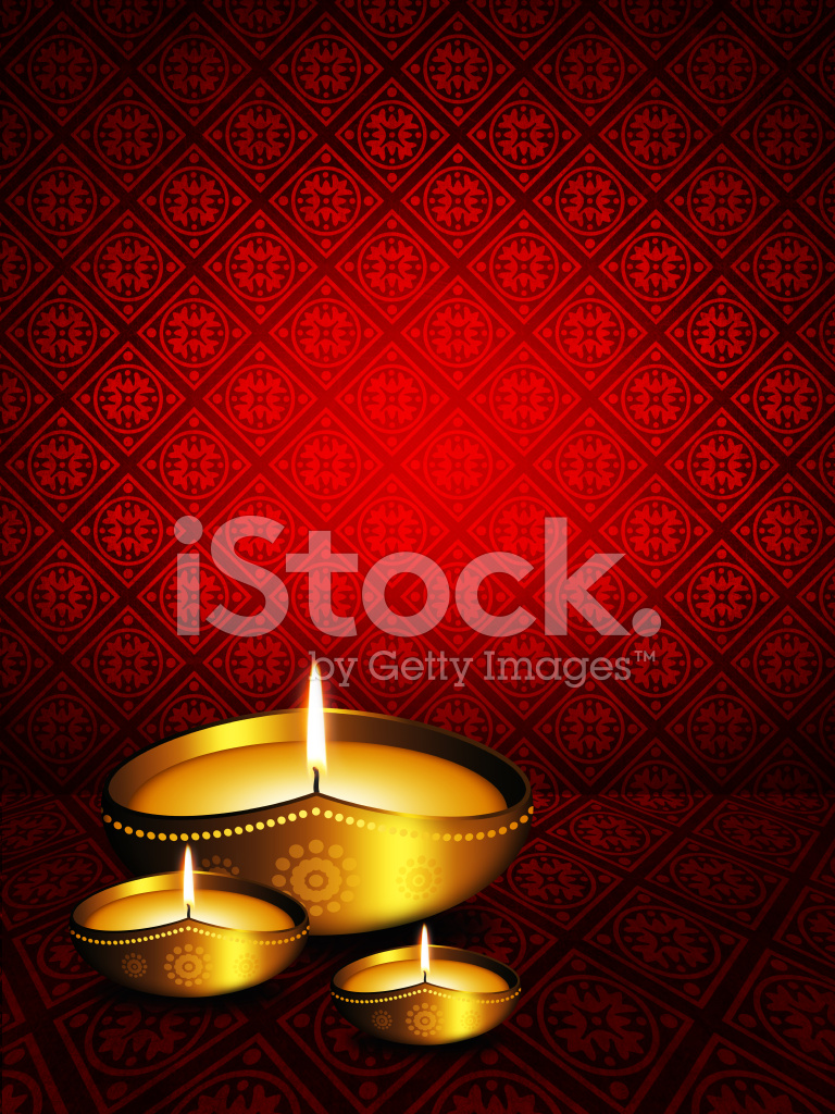 Oil Lamp With Diwali Greetings Over Dark Background Stock Vector