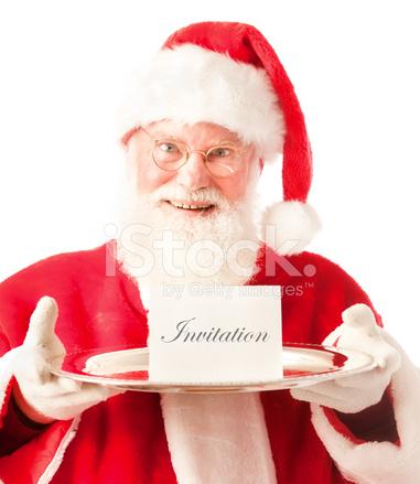 Santa Claus Presentando La Tarjeta De Invitación Fiesta En