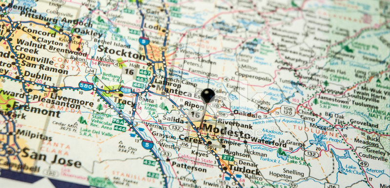 Travel Road Map Macro of Modesto and Stockton California Stock
