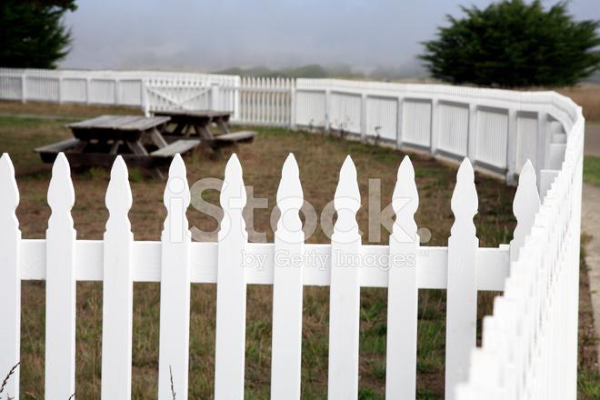 Wooden White Picket Fence Stock Photos