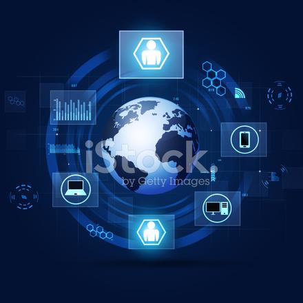 Communication Concept Blue Technology Background Stock ...