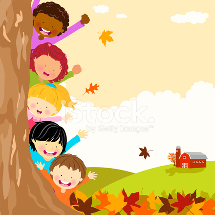 multi ethnic kids hiding behind tree at autumn stock vector american flag free vector american flag background image