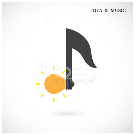 Creative Music Note Sign and Light Bulb Symbol Idea and