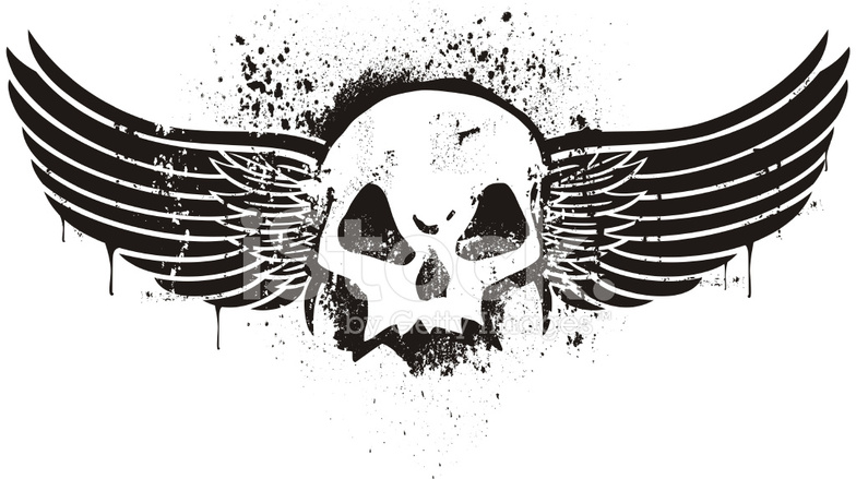 stencil skull with wings stock vector