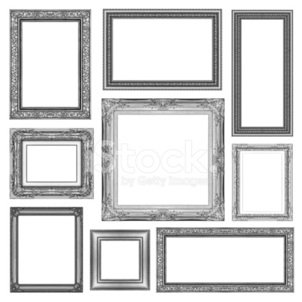 Set Of Vintage Gray Frame With Blank Space Clipping Path Stock