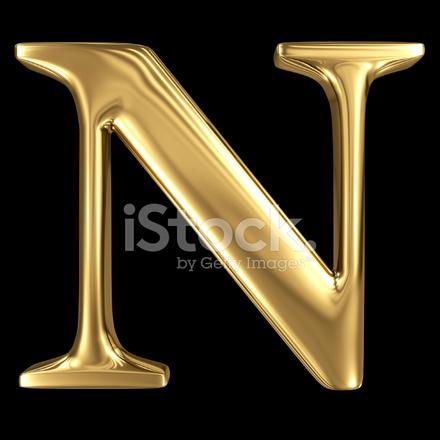 Golden Shining Metallic 3d Symbol Capital Letter N Uppercase Stock