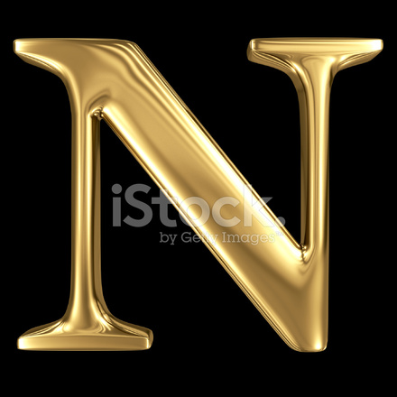 Golden shining metallic 3d symbol capital letter n - N letter images ...