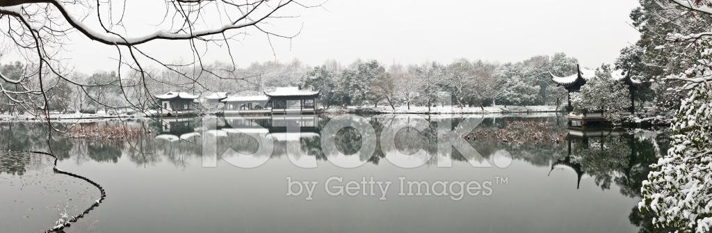 Hangzhou West Lake Winter Snow Scenery Stock Photos