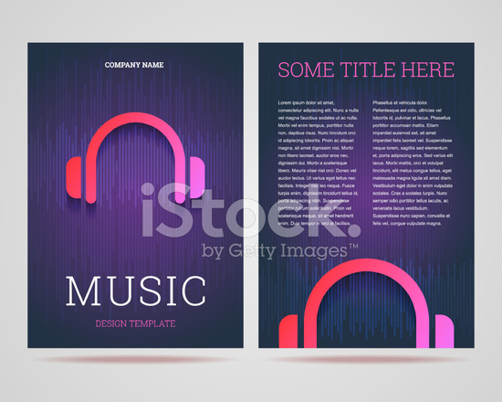 FlyerBrochure Design Template Music Theme With Headphones Ic Stock