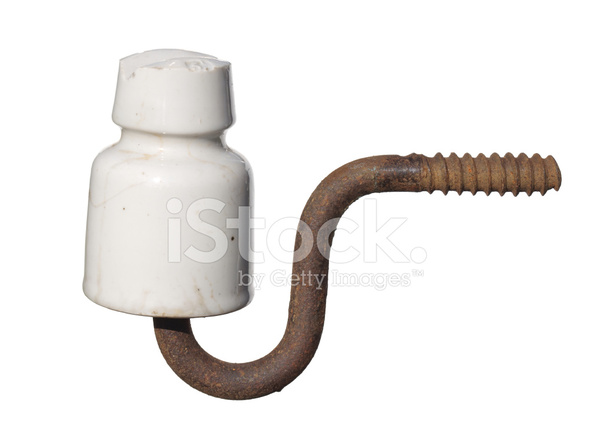 Vintage Ceramic Electrical Insulator Isolated on White