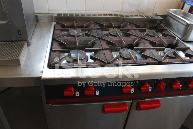 Kitchen Hob Cartoon ~ Image of dirty rusty gas cooker hob in commercial kitchen