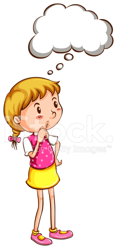 simple coloured sketch of a girl thinking stock vector freeimages com