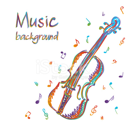 Violin Music Background With Notes Stock Vector ...
