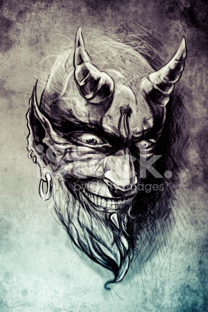 Tatuaż Diabeł Ilustracja Ręcznie Rysować Na Wzór Papieru