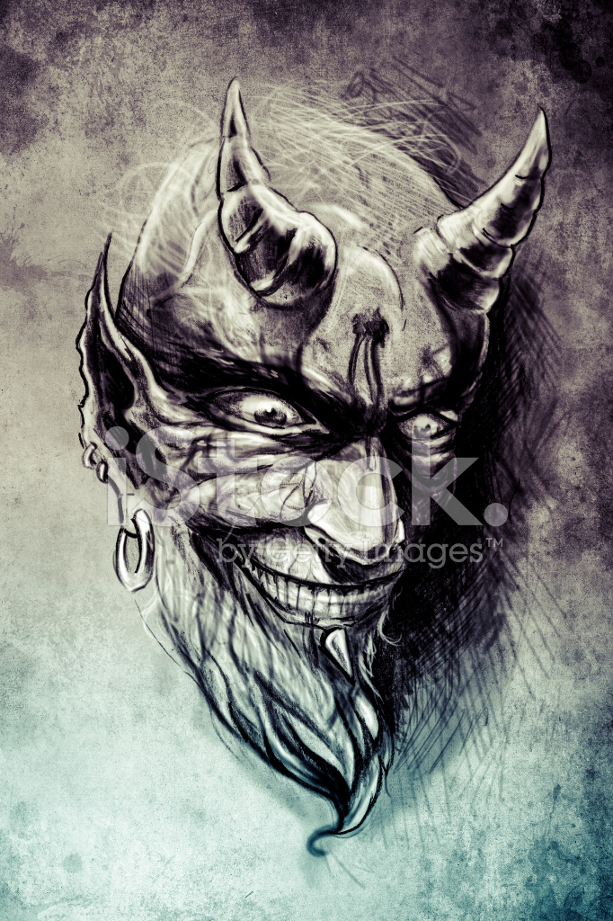 Tattoo Devil Illustration Handmade Draw Over Vintage