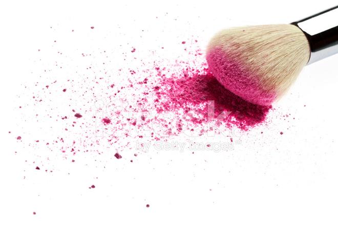 Makeup Brush And Pink Blush Powder