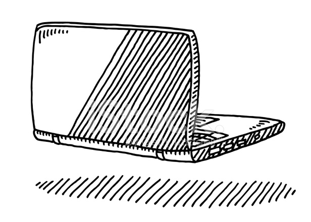Laptop Computer Back Side Drawing Stock Vector