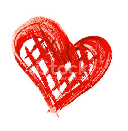 Sulu Boya Boyalı Beyaz Zemin üzerine Kırmızı Kalp Stok Fotoğrafları