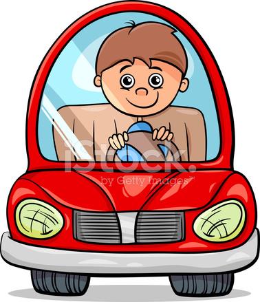 Boy In Car Cartoon Illustration Stock Vector Freeimages Com