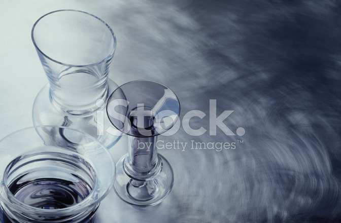 Designer Glass Vases On A Stainless Steel Background Stock Photos