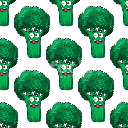 padrão sem emenda de brócolis de desenhos animados stock vector
