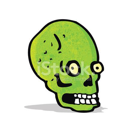 Cartone animato spooky teschio verde stock vector freeimages