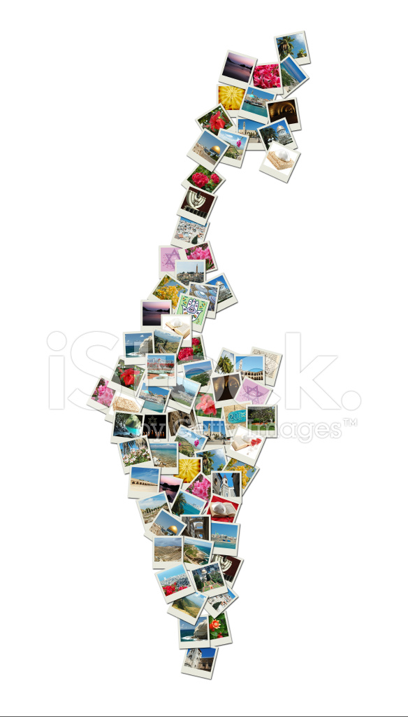Israel Karte Hergestellt Collage Aus Urlaubsfotos MIT ...