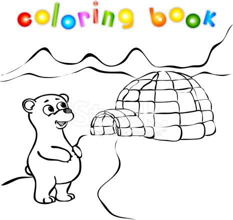 Kutup Ayısı Buz Yurt Igloo Boyama Kitabı Stock Vector Freeimagescom