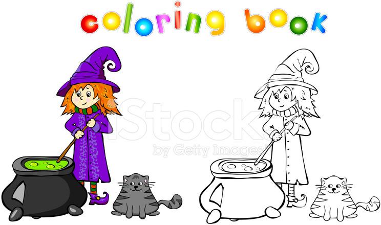 Cadı Kazanı Boyama Kitabı Bir Iksir Yemek Stock Vector Freeimagescom